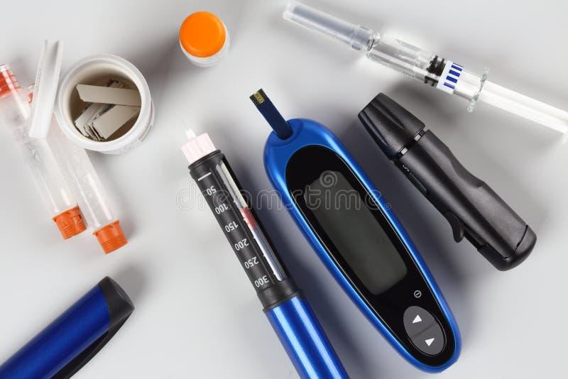 Attrezzatura del diabete fotografia stock