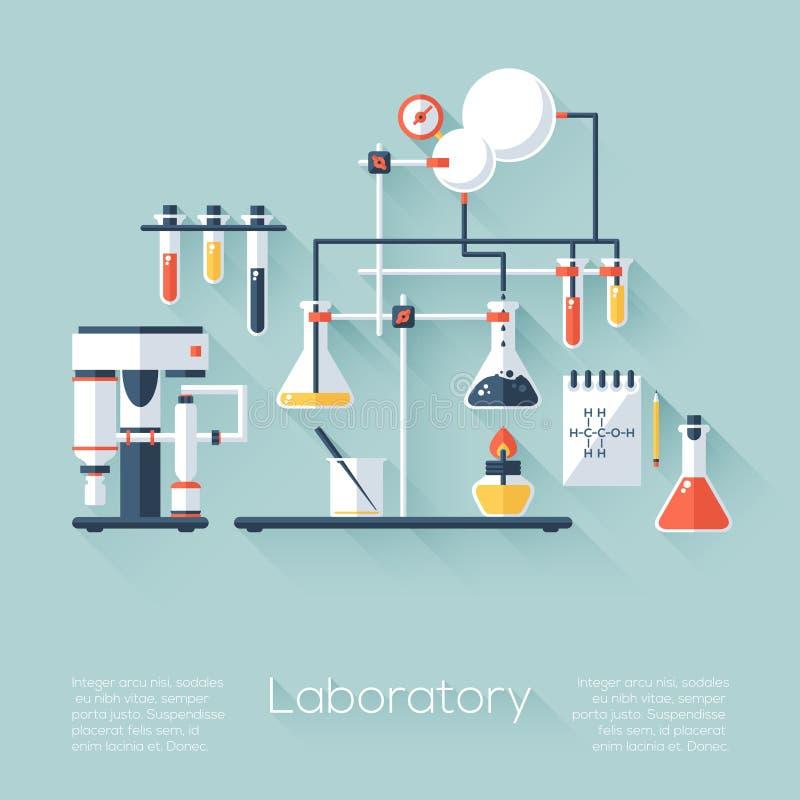 Attrezzatura del laboratorio di ricerca di istruzione di chimica Stile piano con le ombre lunghe Progettazione d'avanguardia mode illustrazione vettoriale