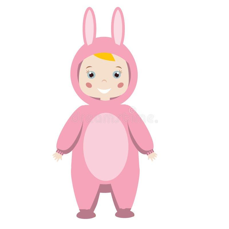 Attrezzatura del partito dei bambini Ragazza sorridente sveglia in costume animale di carnevale Coniglietto rosa, coniglio, lepre illustrazione vettoriale