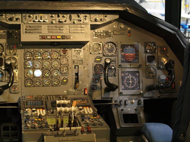 Attrezzatura della cabina di pilotaggio di jet immagine stock libera da diritti