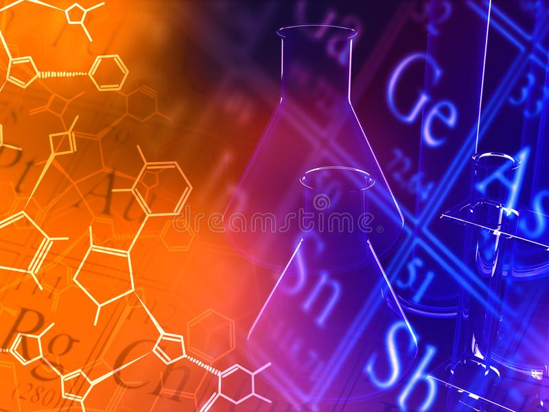 Attrezzatura della cristalleria del laboratorio di ricerca di scienza con lo structura della molecola illustrazione di stock