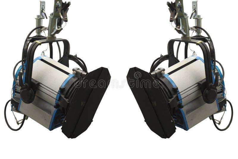 Attrezzatura della fase di illuminazione dello studio isolata sopra bianco fotografie stock