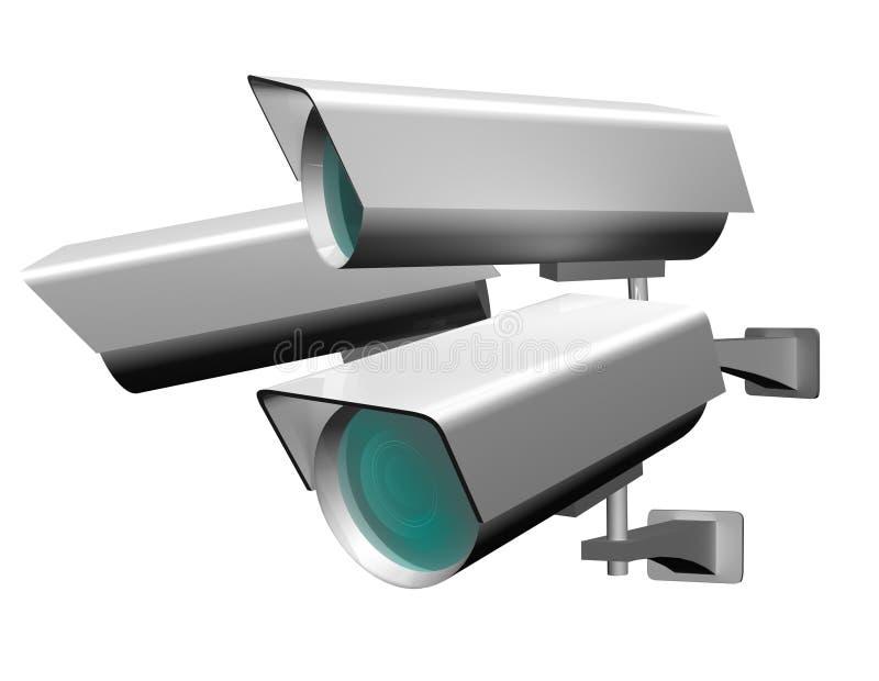 Attrezzatura della videocamera di sicurezza per protezione della proprietà e di videosorveglianza illustrazione di stock