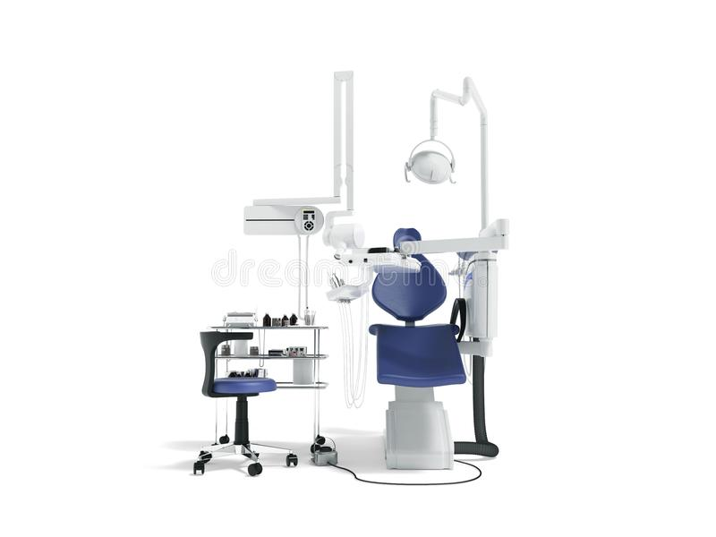 Attrezzatura dentaria per il blu del dentista nella parte anteriore con la poltrona ed il letto royalty illustrazione gratis