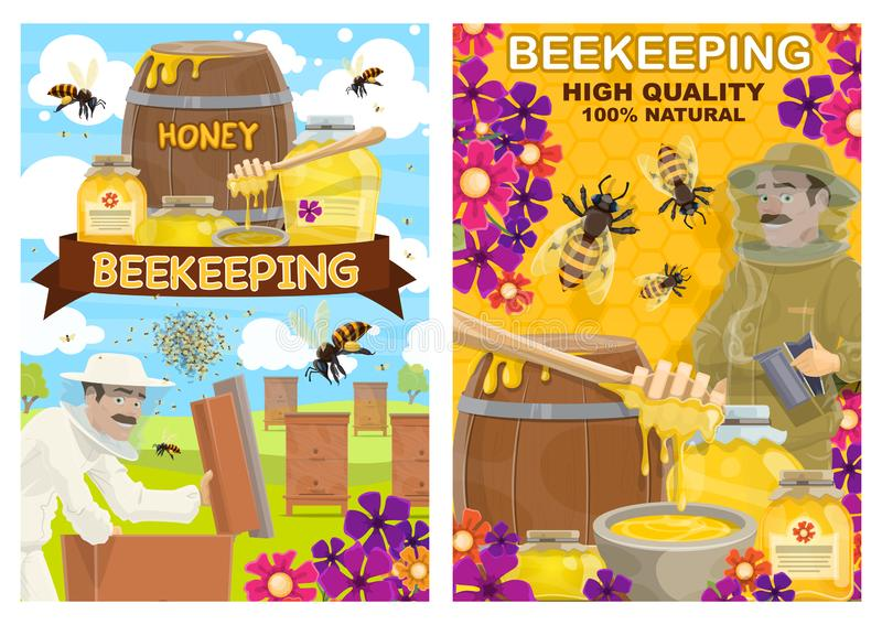 Attrezzatura di apicoltura, ape dell'azienda agricola del miele ed apicoltore illustrazione di stock