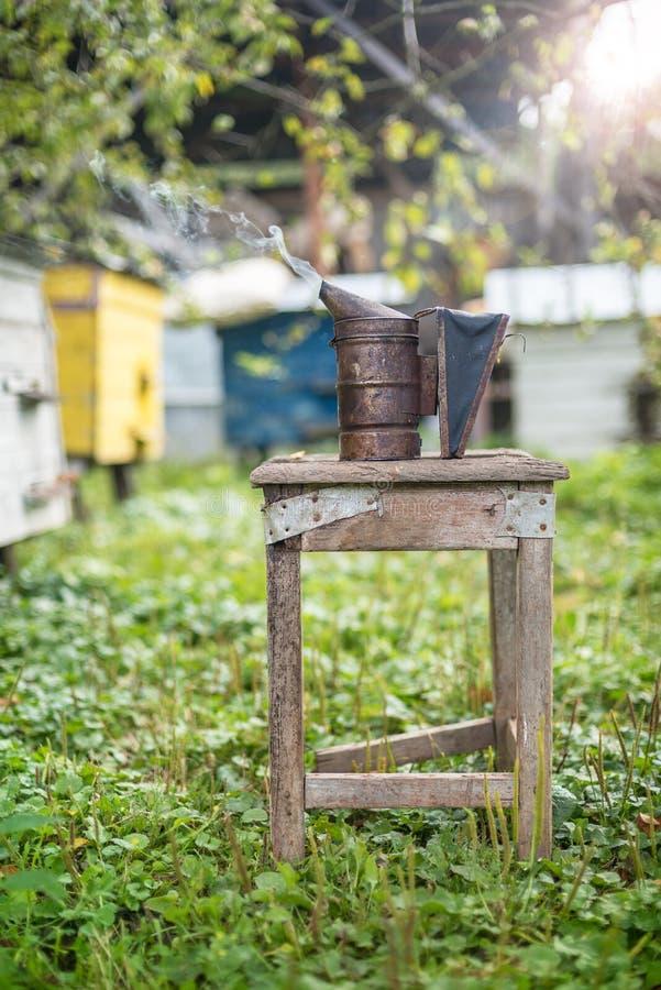 Attrezzatura di apicoltura - fumatore dell'ape, processo di ottenere miele, possedere sicurezza fotografia stock