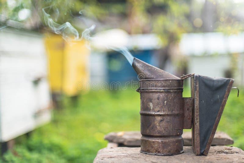 Attrezzatura di apicoltura - fumatore dell'ape, processo di ottenere miele, possedere sicurezza fotografia stock libera da diritti