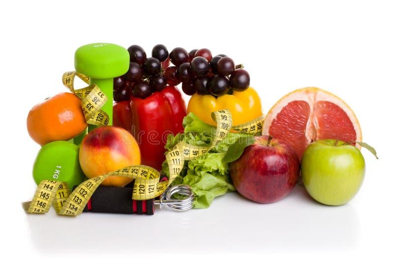 Attrezzatura di forma fisica ed alimento sano immagine stock libera da diritti