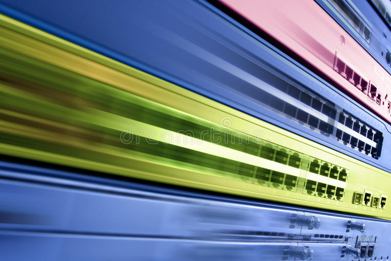 Attrezzatura di Internet di telecomunicazione, centro dati veloce fotografie stock libere da diritti