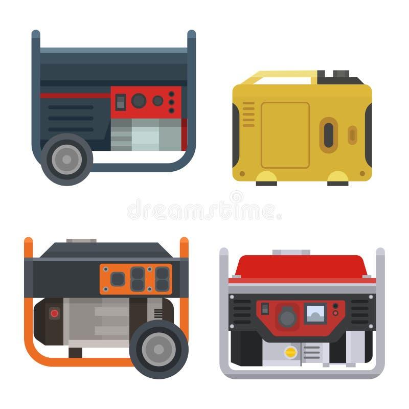Attrezzatura di motore elettrica industriale a energia di combustione della benzina portatile generatrice di forza motrice della  illustrazione vettoriale