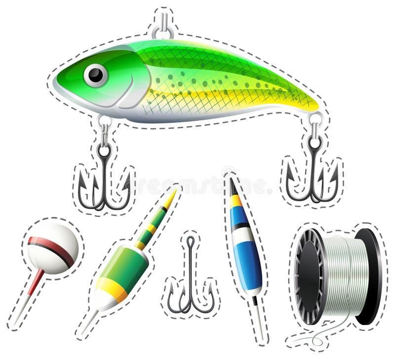 Attrezzatura di pesca con i ganci ed i galleggianti royalty illustrazione gratis