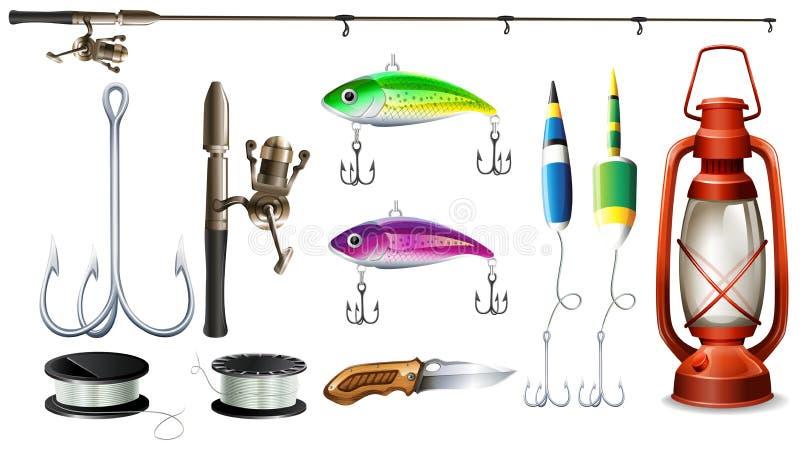 Attrezzatura di pesca con il palo ed i ganci royalty illustrazione gratis