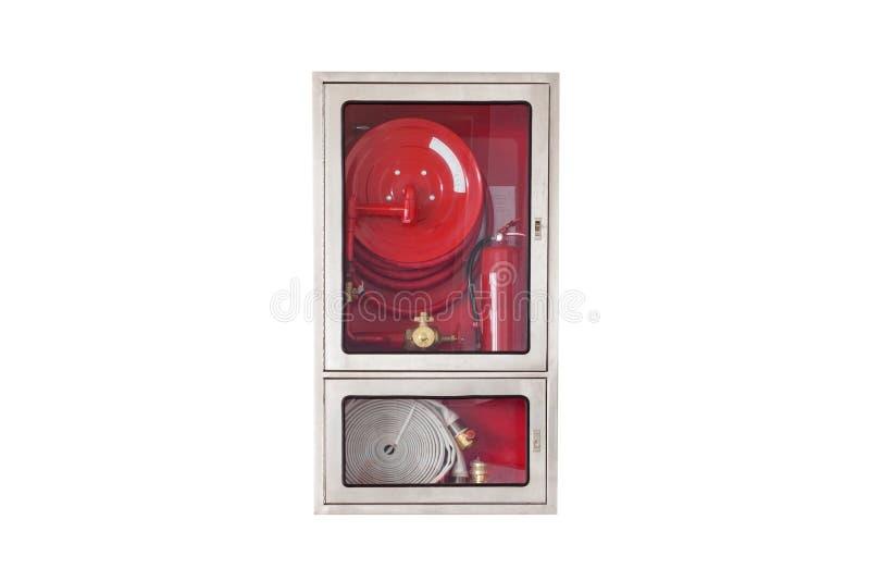 Attrezzatura di protezione antincendio nella scatola isolata su fondo bianco immagine stock libera da diritti