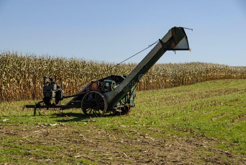 Attrezzatura di raccolta di Amish nel campo immagine stock libera da diritti