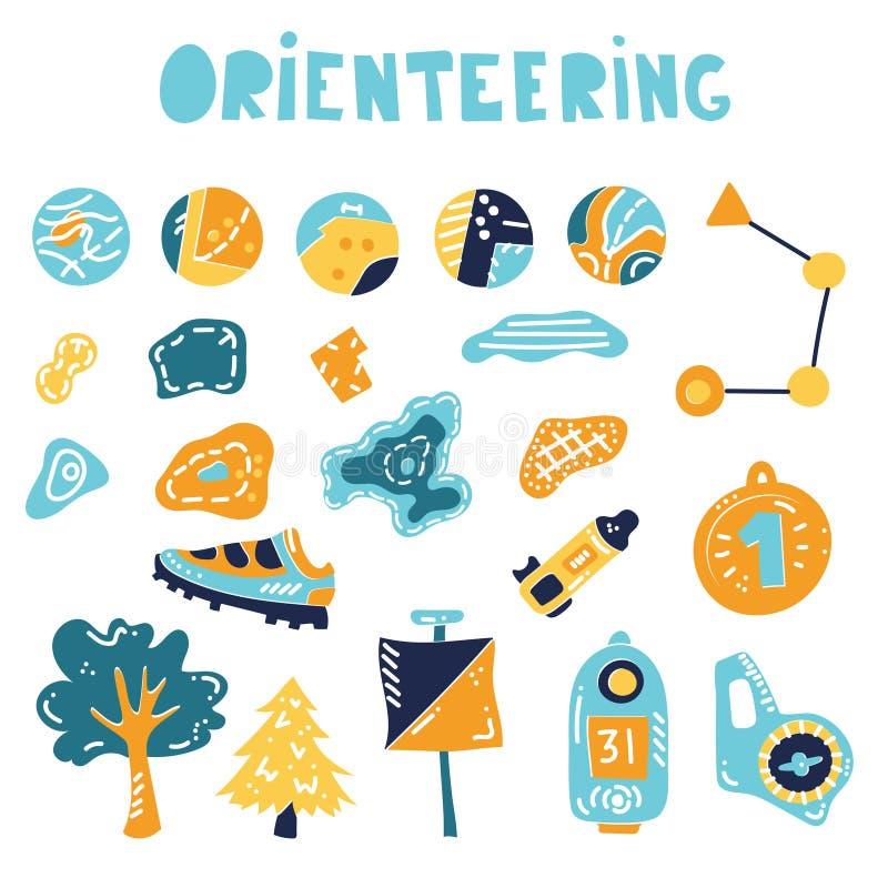 Attrezzatura di sport di orienteering Illustrazione di vettore royalty illustrazione gratis