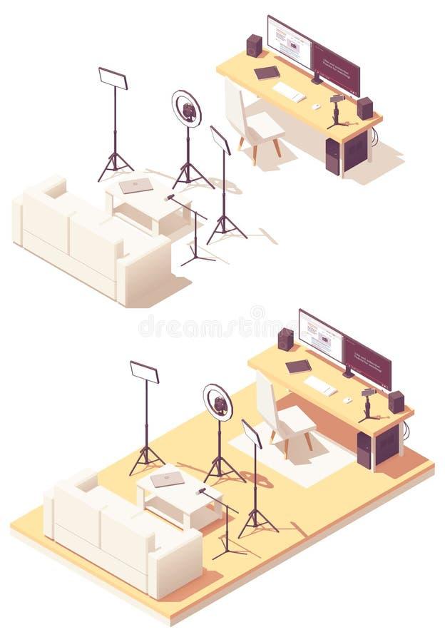 Attrezzatura isometrica dello studio di blogger di vettore video royalty illustrazione gratis