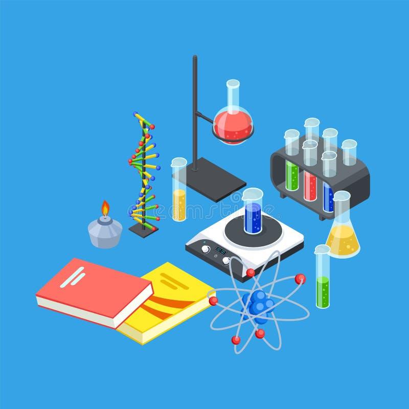 Attrezzatura isometrica di chimica Modello delle provette di vettore e dei becher, dell'atomo e del DNA royalty illustrazione gratis