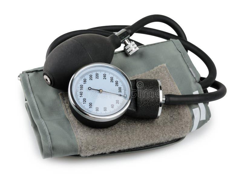 Attrezzatura medica dal tester di pressione sanguigna isolata su bianco immagini stock libere da diritti