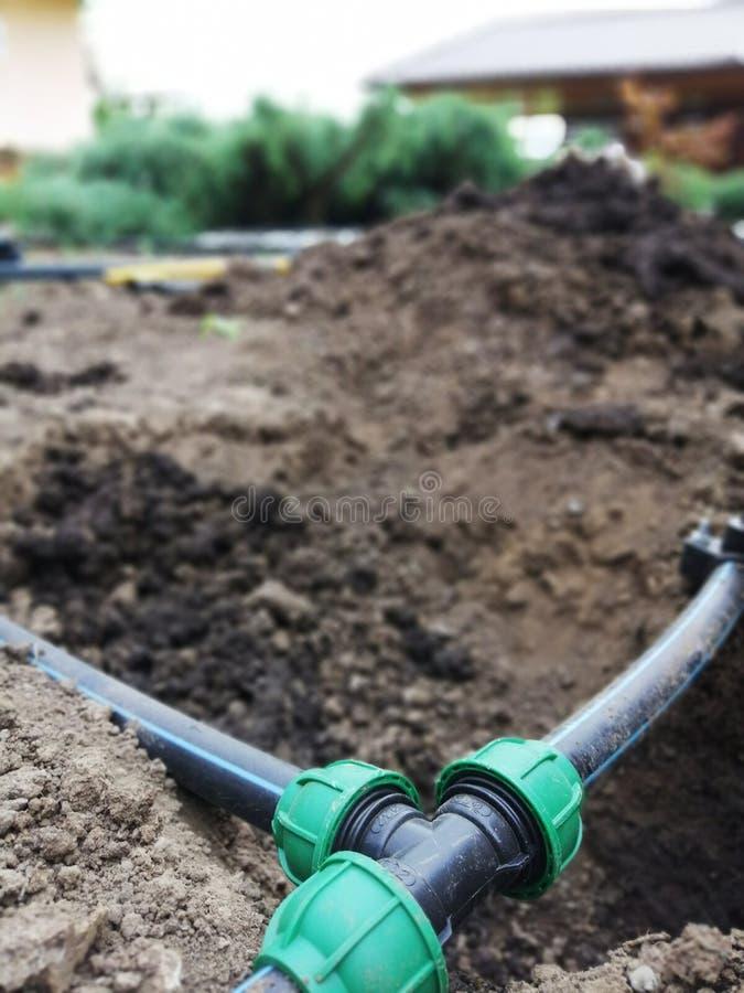 Attrezzatura per irrigazione, controllo e monitoraggio automatici dell'irrigazione immagine stock libera da diritti