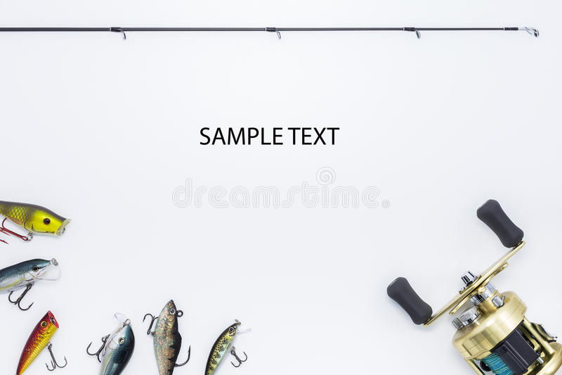 Attrezzatura per la pesca su fondo bianco fotografia stock libera da diritti