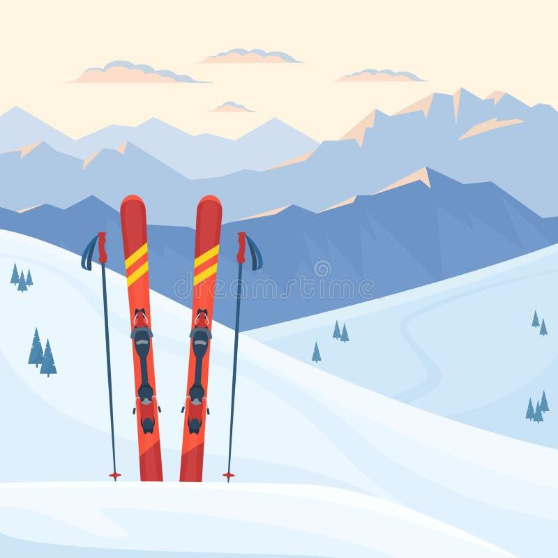 Attrezzatura rossa dello sci alla stazione sciistica Montagne di Snowy e pendii, sera di inverno e paesaggio di mattina, tramonto illustrazione vettoriale