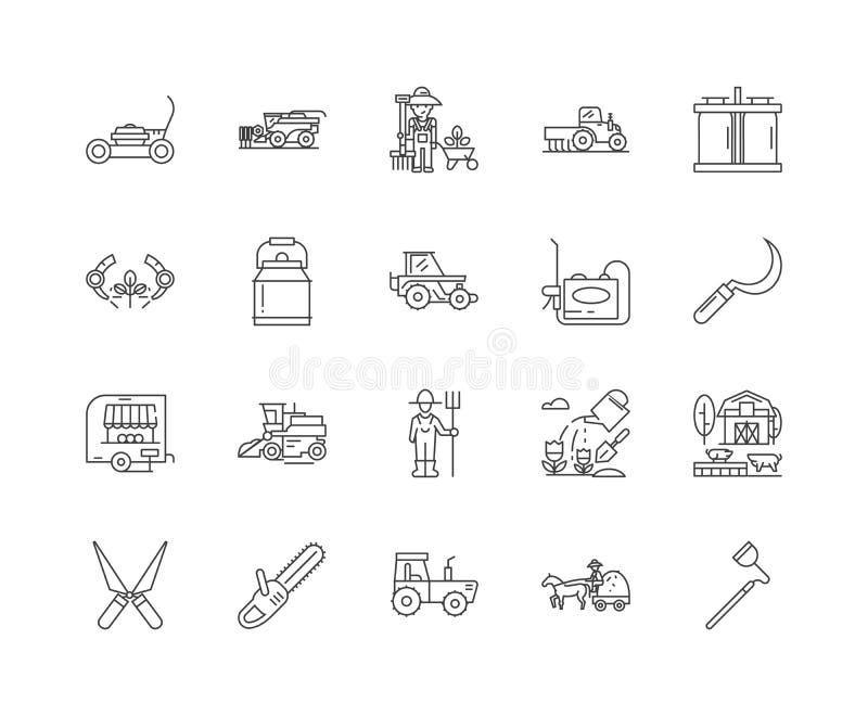 Attrezzature agricole e linea icone, segni, insieme di vettore, concetto di equiment dell'illustrazione del profilo illustrazione vettoriale