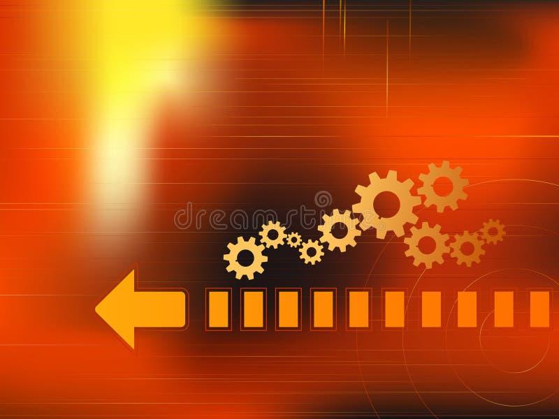 Attrezzi dorati nella priorità bassa rossa illustrazione vettoriale