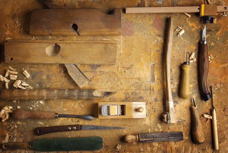 Amazing Download Attrezzi Per Bricolage Di Legno Su Un Vecchio Banco Da Lavoro Di  Legno Fotografia Stock