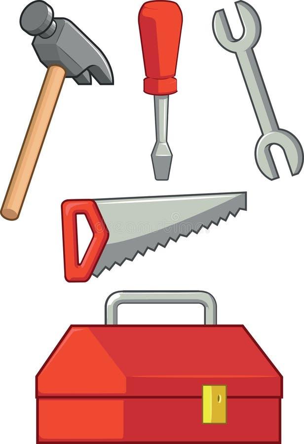 Attrezzi per bricolage - martello, cacciavite, chiave, sega & anche royalty illustrazione gratis
