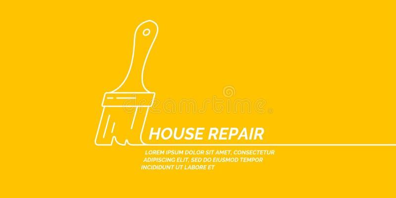 Attrezzi per bricolage per rinnovamento e costruzione domestici Manifesto lineare di riparazione della Camera royalty illustrazione gratis