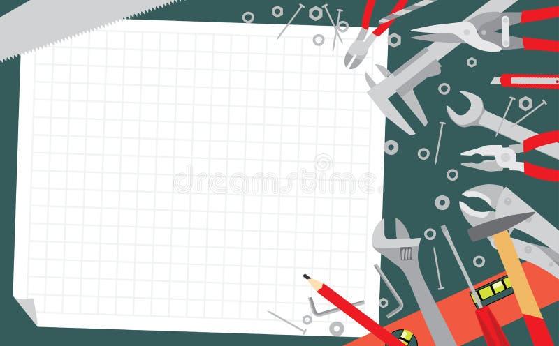 Attrezzi sul fondo della tavola verde royalty illustrazione gratis