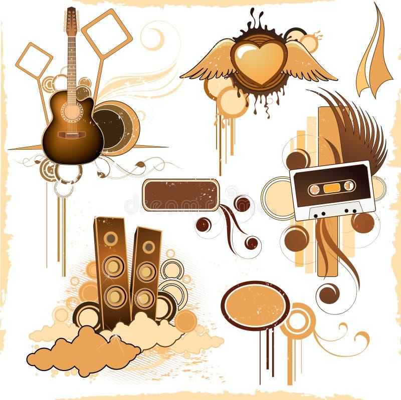 Attrezzo di musica di Grunge illustrazione di stock