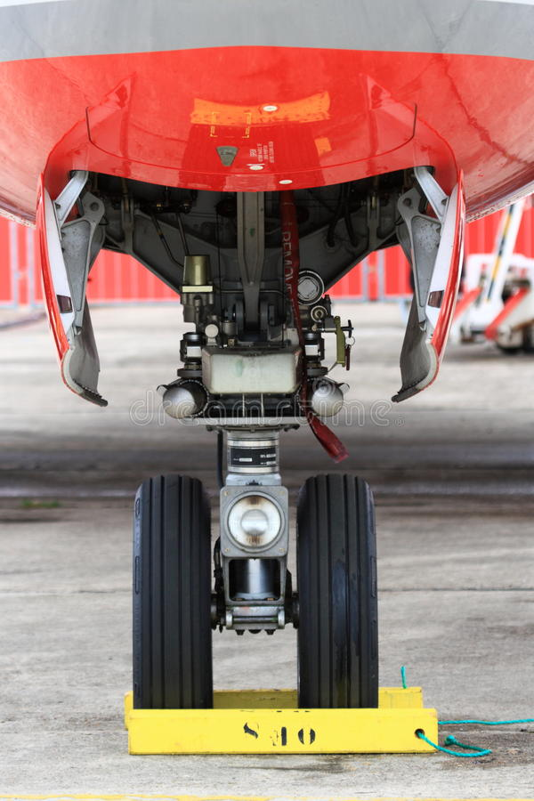 Attrezzo di radiatore anteriore dell'aereo di linea con la rotella immagine stock