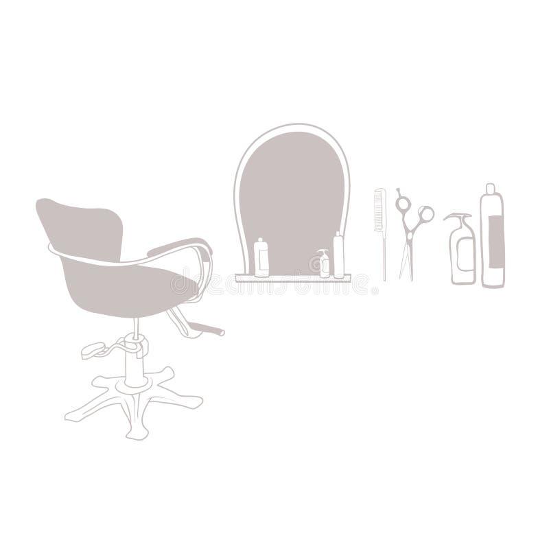 Attribut av den ledar- barberaren royaltyfri illustrationer