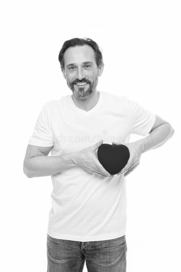 Attribut de coeur de valentine Cadeau ou pr?sent de coeur Salutation du coeur sinc?re Coeur barbu de prise de hippie d'homme photos libres de droits
