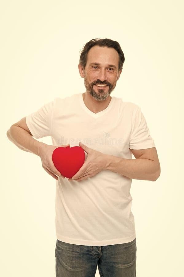Attribut de coeur de valentine Cadeau ou pr?sent de coeur Salutation du coeur sinc?re Coeur barbu de prise de hippie d'homme image libre de droits
