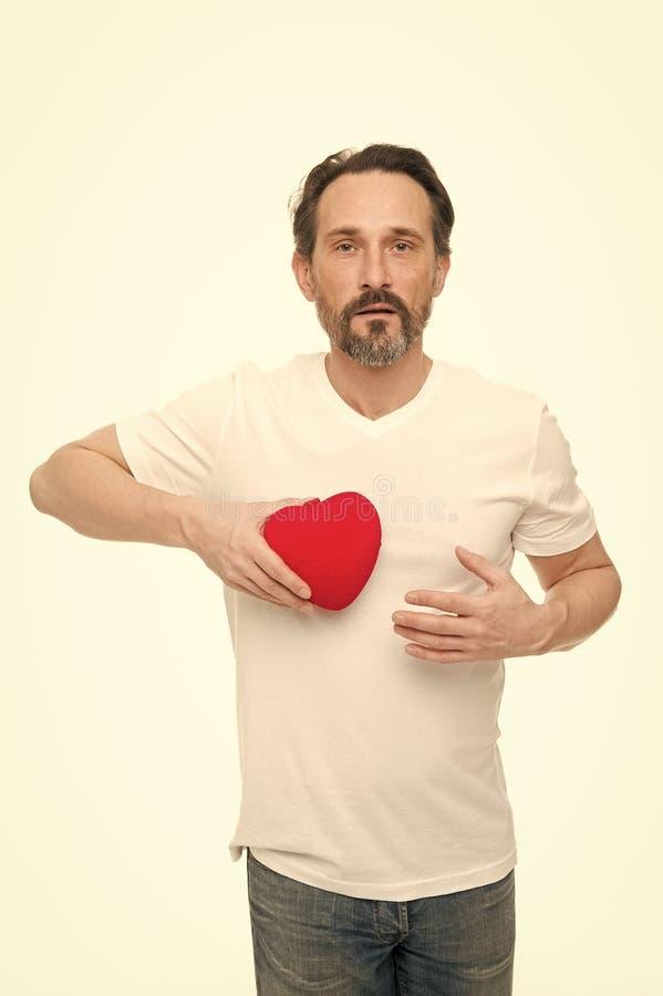 Attribut de coeur de valentine Pr?sent de cadeau de coeur Salutation du coeur sinc?re Coeur barbu de prise de hippie d'homme roma photos stock