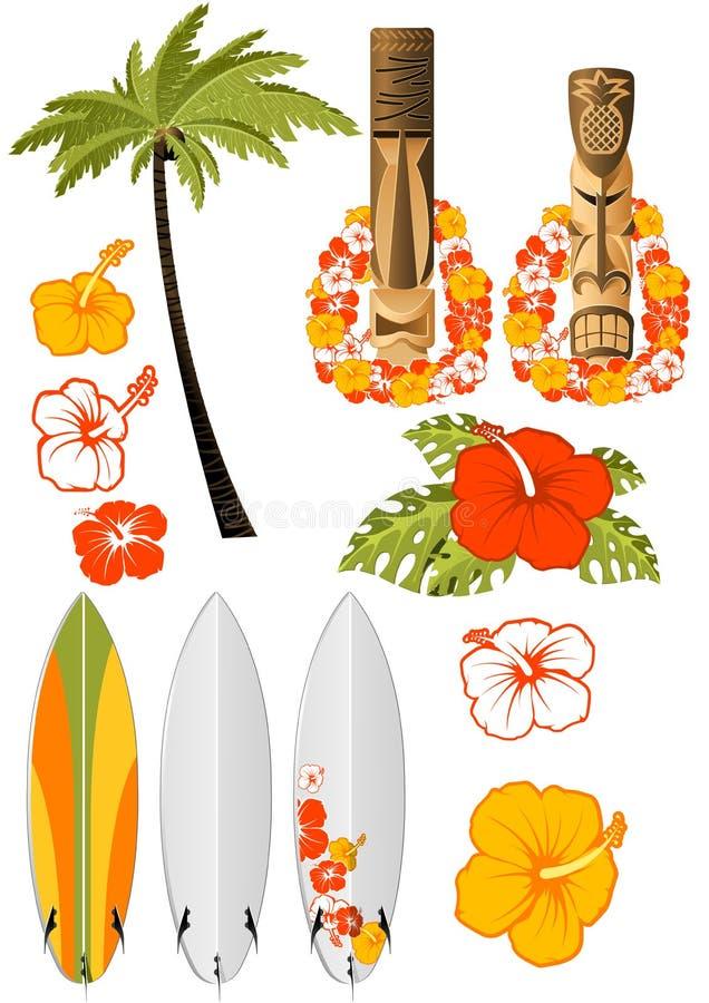 attribut hawaiansk rest royaltyfri illustrationer