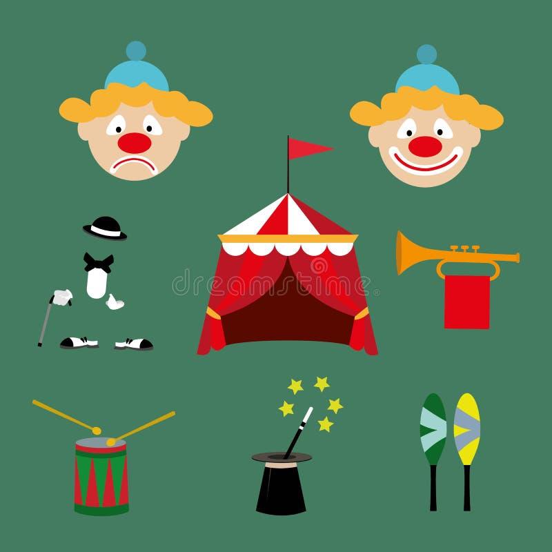 Attributen av cirkusen royaltyfri illustrationer