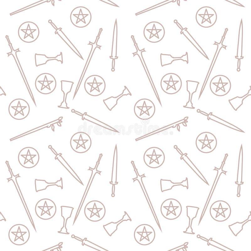 Attributen av tarokavläsaren seamless modell stock illustrationer
