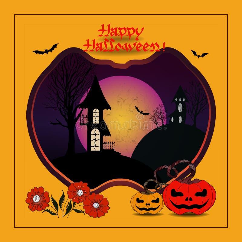 Attributen van de vakantie - kastelen, pompoenen, knuppels, bloemen, silhouetten van bomen Vector beeld Halloween Gebruik gedrukt stock illustratie