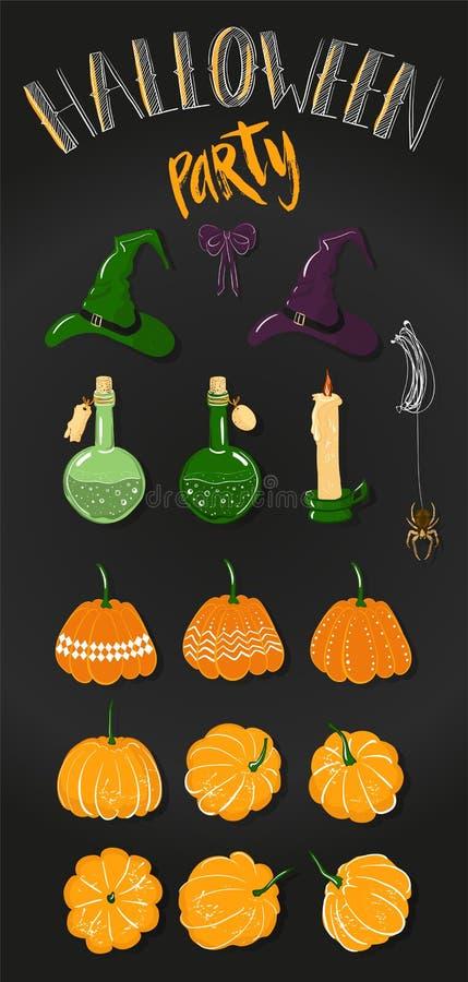 Attributen voor vakantiedecor Clipart voor Halloween: pompoenen, vergift in een fles, spin op een Web, heksenhoed, boog en royalty-vrije illustratie