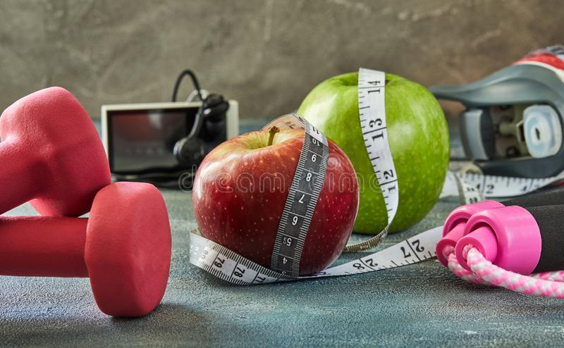 Attributes of a healthy lifestyle royalty free stock photo