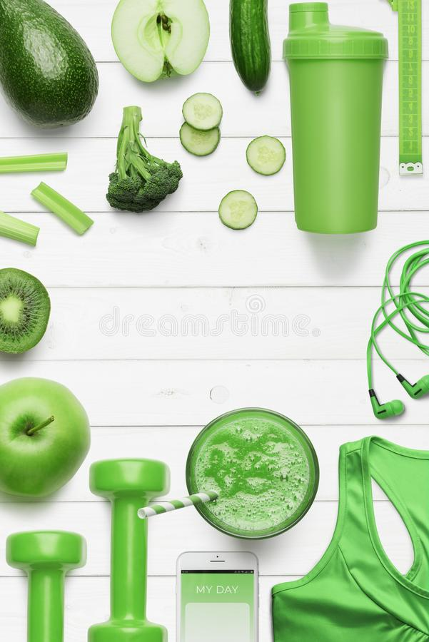 Attributes of healthy lifestyle stock photos