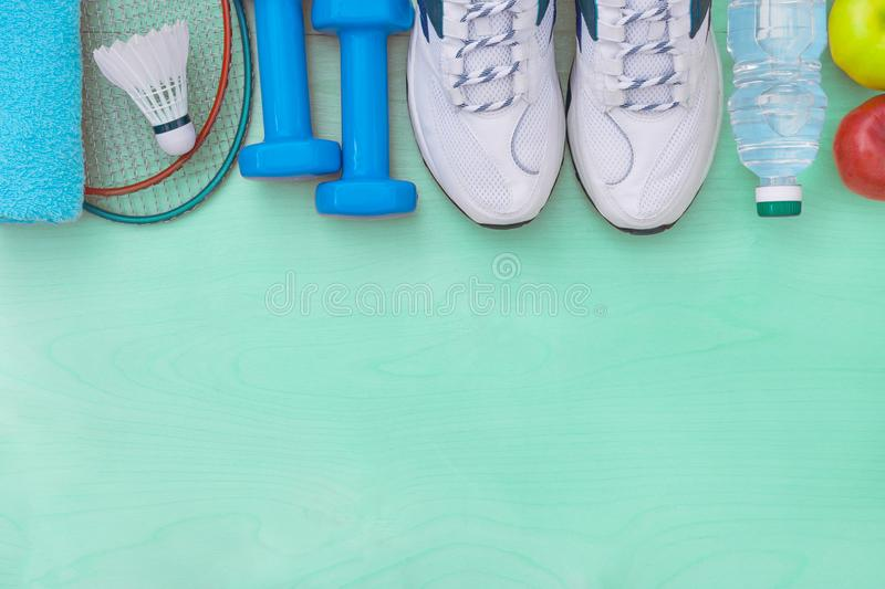 Attributes of a healthy lifestyle, sports equipme stock image