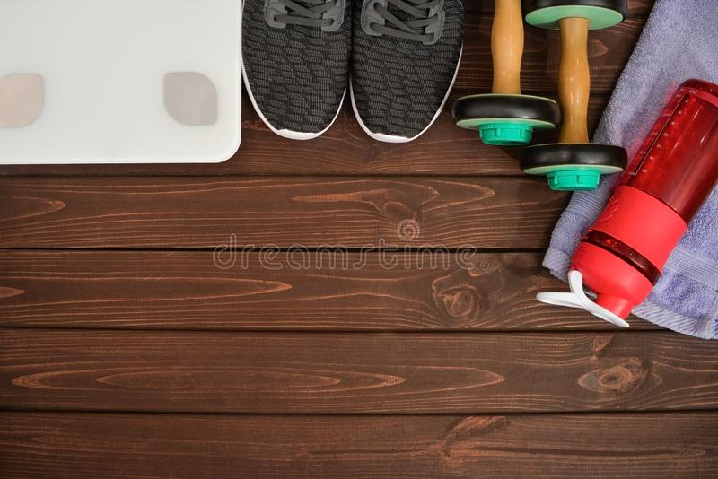 Attributes of a healthy lifestyle: sports equipment stock photo