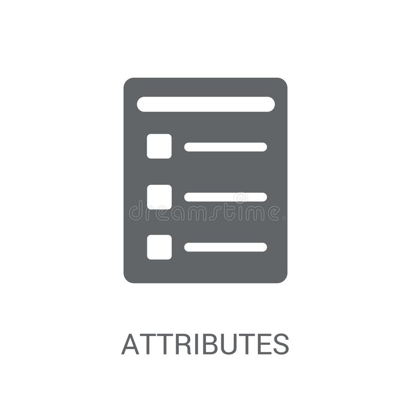 Attributes icon. Trendy Attributes logo concept on white background from Technology collection royalty free illustration