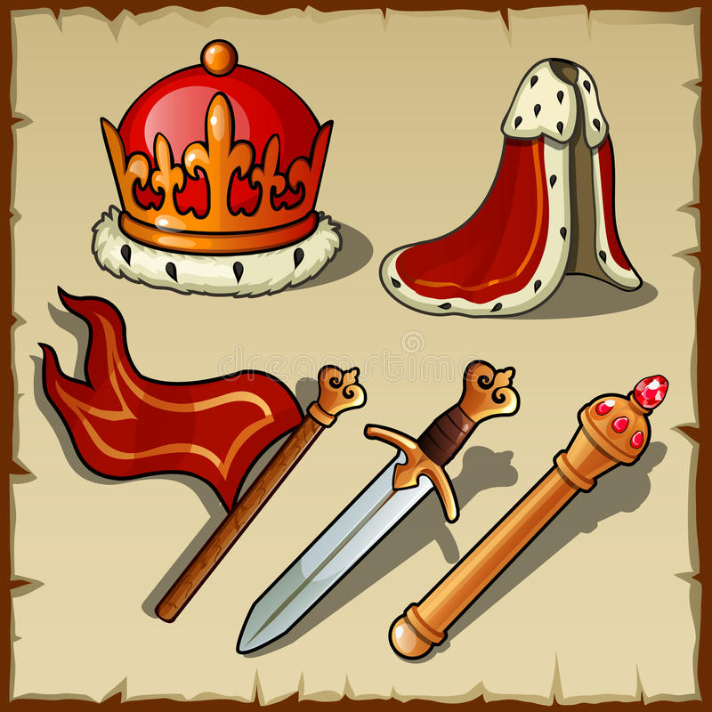 Attributes of Royal authority and power, king set. Attributes of Royal authority and power, king vector set royalty free illustration