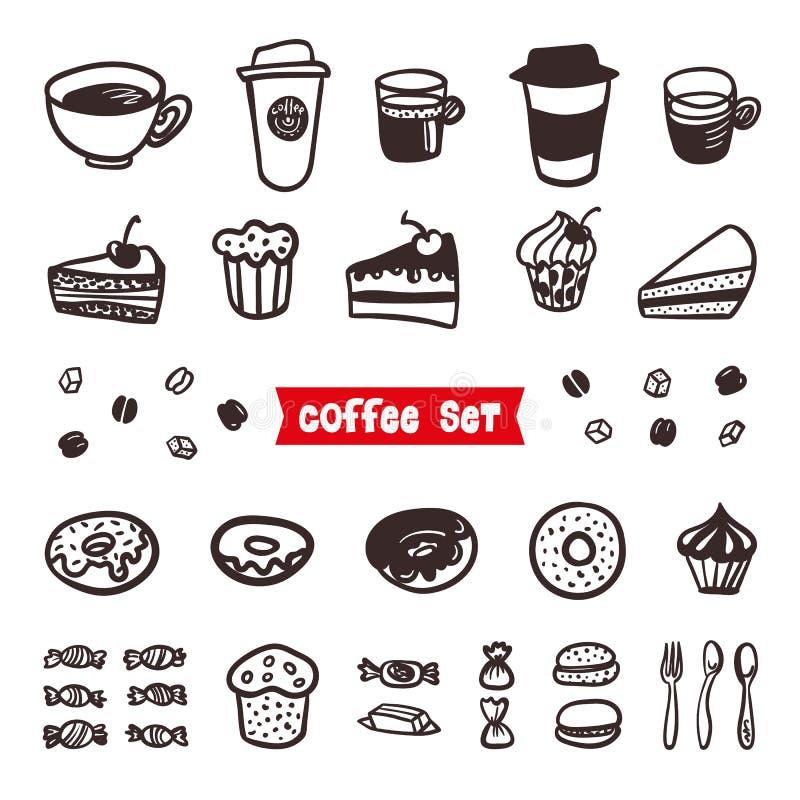 Attributi del caffè fissati Elementi disegnati a mano del profilo Tazze di caffè differenti caffè espresso, cappuccino, latte, ri royalty illustrazione gratis