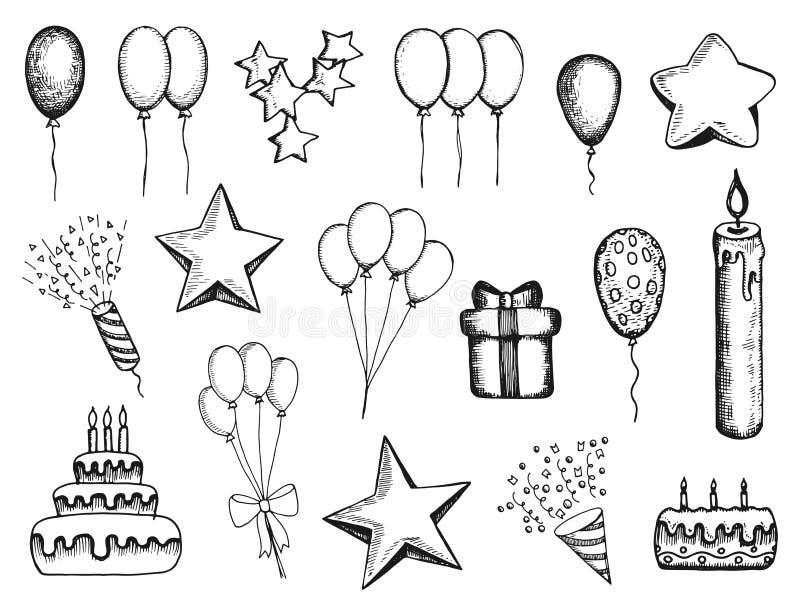 Attributi di festa fissati dei disegni disegnati a mano di vettore regalo delle palle royalty illustrazione gratis